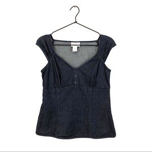 Loft Stretch Denim Babydoll Top